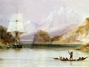 HMS Beagle at Tierra del Fuego (painted by Conrad Martens). HMS Beagle in the seaways of Tierra del Fuego, painting by Conrad Martens during the voyage of the Beagle (1831-1836), from The Illustrated Origin of Species by Charles Darwin, abridged and illus