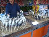 Food stand; Roasted fish (Ayu)