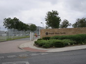 Entrance to the Bristol-Myers Squibb site at Reeds Lane, Moreton, Wirral, England.
