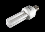 Modern fluorescent light bulb with E27 thread for 220..240 Volts AC with 8 Watts power