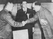 English: Wang Jingwei, Hideki Tojo and Subhas Chandra Bose in Tokyo (1943)