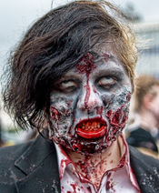 English: A participant of a Zombie walk, Asbury Park NJ, USA.