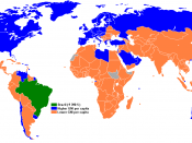 English: Map of countries by GNI per capita compared to Brazil.