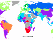 English: Differences in national income equality around the world as measured by the national Gini coefficient. The Gini coefficient is a number between 0 and 1, where 0 corresponds with perfect equality (where everyone has the same income) and 1 correspo