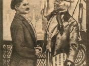 Русский: old russian poster depicting Uncle Sam shaking hands with representative of russian democracy