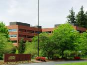 entrance to HQ of Mentor Graphics in Wilsonville, Oregon, USA
