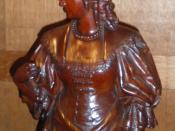 English: One of Thomas Nicholls' mahogany carvings of characters from Alexandre Dumas'