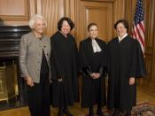 English: The four women who have served on the Supreme Court of the United States. From left to right: Justice Sandra Day O'Connor (Ret.), Justice Sonia Sotomayor, Justice Ruth Bader Ginsburg, and Justice Elena Kagan in the Justices' Conference Room, prio