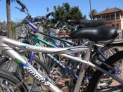 Bikes in front of the Davis Amtrak station.