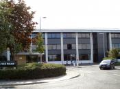 A photograph of part of Northern Rocks HQ. The 1990s Office blocks are shown. At Regent Centre, in Gosforth, Newcastle upon Tyne, England (September 2007)
