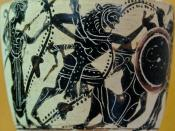 Herakles fighting Geryon (on the far right); Eurytion lays wounded at their feet, Athena (on the left) watches the scene. Attic white-ground black-figure lekythos.