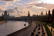 Kremlevskaya Naberezhnaya and Moscow skyline