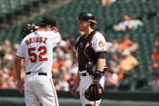 Brian Matusz and Matt Wieters at Baltimore Orioles v/s Cleveland Indians.