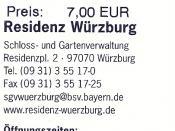 Deutsch: Würzburger Residenz - Eintrittskarte