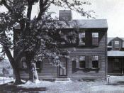 English: Image of the main building of Fruitlands, a short-lived Transcendentalist community founded by Charles Lane and Bronson Alcott. Original caption notes the mulberry tree was