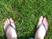 Flip-flops are secured to the foot by a strap of material passing between the toes.