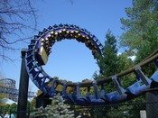 English: Carolina Cyclone's first of two corkscrews at Carowinds