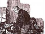English: Dr Phillips examining the body of Annie Chapman in a press drawing of 1888