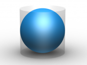 Archimedes sphere and cylinder. The sphere has 2/3 the volume and area of the circumscribing cylinder.