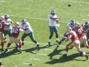 Philadelphia Eagles quarterback Donovan McNabb passes the ball during a regular season game against the San Francisco 49ers. The Eagles won 40-26.