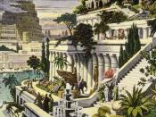 A 16th century depiction of the Hanging Gardens of Babylon, by Martin Heemskerck, with Tower of Babel in the background.