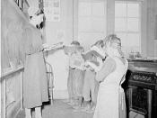 English: Lancaster County, Pennsylvania. Mennonite school teacher with class of Amish, Mennonite, and Pennsylvania Dutch children.