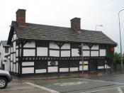 English: Cromwell's Cottage In medieval times, Warrington's importance was as a crossing point of the River Mersey and it became a fulcrum in the English Civil War. The armies of Oliver Cromwell and the Earl of Derby both stayed near the old town centre a