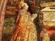 Pope Alexander VI. (Rodrigo Borgia) Detail from a Fresco of the Resurrection, painted in 1492 - 1495 by Pinturicchio