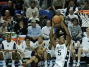 Geary Claxton makes a slam dunk for Penn State against Colgate.