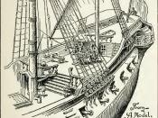 English: Illustration of the Quarter deck of an 18th century frigate.