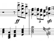 English: The famously dissonant chord and cadence occurring at the end of Salome's monologue at the end of the opera Salome (1905) by Richard Strauss. Created using Sibelius.