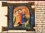 English: Illuminated letter of Elkanah and his two wives. Manuscript Den Haag, KB, 78 D 38 I