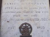 The cover to the vault in which the remains of Daniel D. Tompkins, 6th Vice President of the United States, are interred, in the west yard of St. Mark's Church in-the-Bowery, in the East Village, Manhattan, New York City