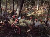 English: A battle during the Seven Years' War between British and Indians in North America.