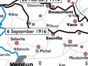 Basic 300-pixel thumbnail map showing location of Fort Doumont in relation to Verdun and the other forts north and northeast of Verdun. The lines of advance of German forces as at 26 February and 6 September 1916 are shown in black. The River Meuse is sho