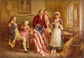 Betsy Ross 1777, a ca. 1920 depiction by Jean Leon Gerome Ferris of Ross showing George Washington (seated, left), Robert Morris, and George Ross how she cut the stars for the flag