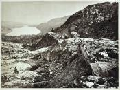 View of Truckee Lake from Donner Pass, taken in 1868 as the Central Pacific Railroad reached completion.
