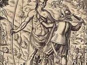 English: John Smith taking the King of Pamunkey prisoner.