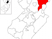 Map of Woodbridge Township in Middlesex County. Inset: Location of Middlesex County highlighted in the State of New Jersey.