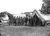 Humphreys, second from the right, and President Abraham Lincoln after the Battle of Antietam.