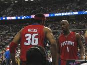 Detroit Pistons starting 5 2004-2006. Left to right: Richard Hamilton, Ben Wallace, Rasheed Wallace, Chauncey Billups, Tayshaun Prince