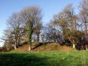 English: Wolf's Castle mound The remains of a C12 motte and bailey castle lie just above the confluence of the Afon Anghof and the Cleddau Wen, a commanding defensive position for the Normans here. It's not certain whether Wolf was one of them, or whether