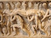 Scene from Book XXIV of the Iliad: Hector's corpse brought back to Troy (detail). Roman artwork (ca. 180–200 CE), relief from a sarcophagus, marble.