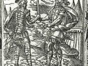 Ajax and Hector exchange gifts, woodcut in Andreas Alciatus, Emblematum libellus, 1591.