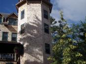 Picture of the iconic 5-story tower of The Ojibway Club, on Ojibway island, near Pointe au Baril, Ontario.