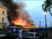 Cutty Sark on fire.