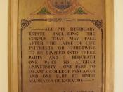 English: Quaid-i-Azam's_Will at Islamia College Peshawar