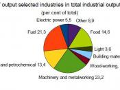 English: Share of output selected industries in total industrial output in 2008 in Belarus Source:National Statistical Committee of the Republic of Belarus http://belstat.gov.by/homep/en/main.html