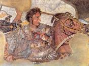 English: Detail of the Alexander Mosaic, representing Alexander the Great on his horse Bucephalus. Português: Detalhe do chamado