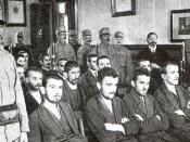 The Sarajevo trial in progress. Princip is seated in the center of the first row.